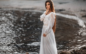 Picture girl, makeup, dress, hairstyle, beautiful, in white, bokeh, Jeanne, Pererva Dmitry