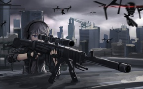 Picture girl, gun, weapon, anime, sniper, asian, japanese, drone
