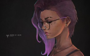 Picture girl, hair, glasses, art, overwatch, sombra