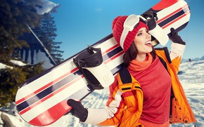 Wallpaper look, mood, sport, woman, extreme, snowboard, beautiful, athlete, equipment, bokeh, training, wallpaper., winter sports, snowboarder, ...