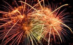 Wallpaper colorful, night, fireworks, 2017, new year, salute, happy, holiday celebration, fireworks, New Year