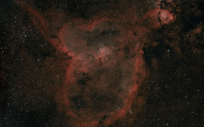 Wallpaper sleeve, Heart, in the constellation, The Milky Way, Cassiopeia., emission nebula, in the galaxy, Perseus, ...