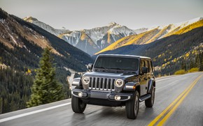 Wallpaper road, forest, trees, mountains, movement, markup, 2018, Jeep, dark gray, Wrangler Sahara