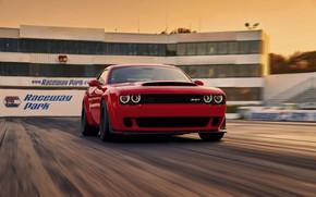 Picture Challenger, Red, sportcar, race, speed, musclecar, track, SRT, Demon, 2017