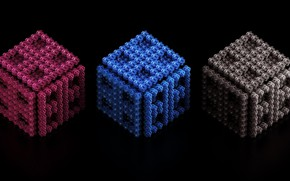 Picture cubes, trio, black background