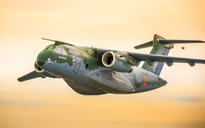 Wallpaper flying, Brazil, FAB, Embraer, KC-390, turbines, developed and manufactured by Embraer Defesa e Seg, Embraer ...