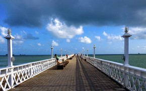 Picture sea, the sky, lights, Brazil, bench, Fortaleza, The bridge English