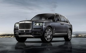 Picture auto, lights, The evening, Rolls-Royce Cullinan