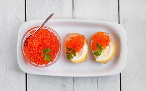 Picture lemon, bread, spoon, red, caviar, parsley, saucer, sandwiches