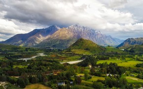Picture clouds, trees, mountains, river, field, valley, New Zealand, panorama, houses, Queenstown