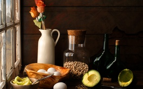 Picture flowers, table, eggs, window, still life, avocado, chickpeas
