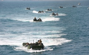 Picture beach, training, amphibious vehicle, amphibious, dressage, armored vehicles, amphibious landing, sea soldiers