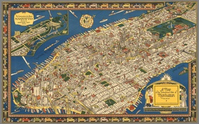 Picture map, home, Manhattan, New York City