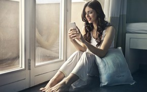 Picture girl, smile, room, window, phone