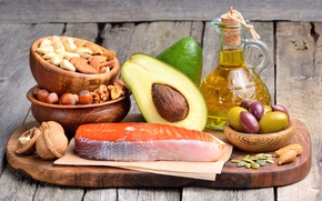 Picture oil, fish, Board, nuts, olives, nuts, fish, avocado, olive