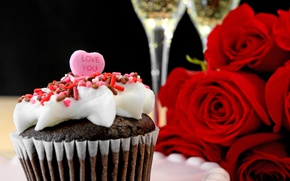 Picture roses, love, heart, romantic, cupcake, roses, champagne, valentine`s day