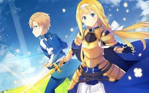 Picture anime, japanese, Sword Art Online, SAO, bishojo, Alice Synthesis Thirty, Eugeo, Alice Mount, Yujio, Sword …