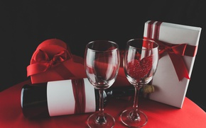 Picture wine, glasses, red, love, romantic, hearts, valentine's day, gift