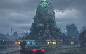 Picture street, people, tower, umbrella, car, buildings, warmachines