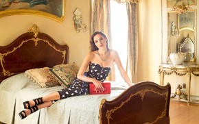 Picture girl, light, pose, photo, model, bed, costume, bag, Gal Gadot, Gal Gadot