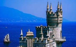 Wallpaper sea, the sun, mountains, rock, blue, coast, haze, fortress, Crimea, Swallow's nest, The black sea