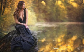 Wallpaper dress, stone, girl, mood, water, Martyna Lasota, pond, pose