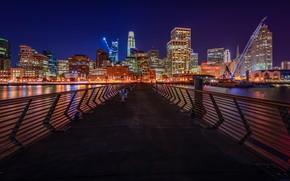 Picture Bridge, Night, The city, Skyscrapers, Night landscape