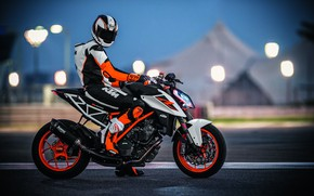 Picture lights, red, orange, track, racer, uniform, KTM 1290 Super Duke