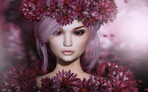 Picture look, flowers, face, background, petals
