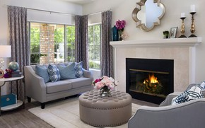 Picture flowers, design, table, room, sofa, mirror, window, fireplace, mansion, Design, living room, room, living