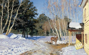 Picture landscape, horse, oil, canvas, March, 1895, Isaac LEVITAN, textbook