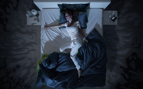 Picture dream, woman, bed, Nightmare, restless dreams