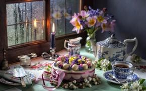 Wallpaper bouquet, window, tea, candle, Apple, cake