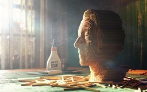 Picture face, head, Reiki, glue, wooden portrait