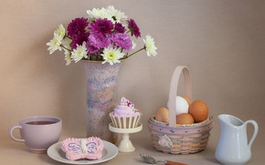 Picture flowers, tea, eggs, cookies, still life