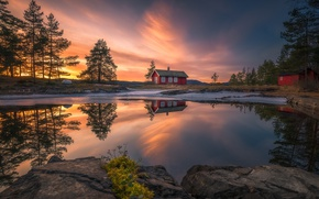 Picture clouds, light, nature, reflection, the evening, house