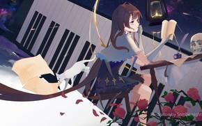 Picture cat, girl, skull, keys, art, sombernight