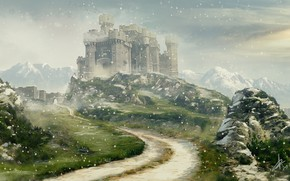 Picture snow, mountains, stones, castle, Winter is coming