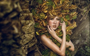 Picture look, leaves, girl, style, model, hands, makeup, Asian