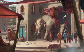 Picture animals, people, building, Elephants, Ride Through The Town