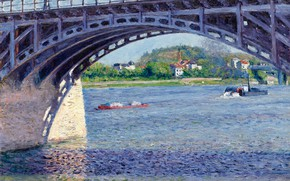 Picture river, picture, support, arch, Gustave Caillebotte, Gustave Caillebotte, The bridge on the Seine at Argenteuil