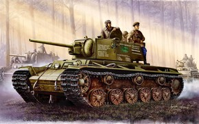 Picture art, tank, USSR, Soviet, KV-1, tankers, heavy, times, The great Patriotic war