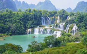 Picture trees, mountains, nature, boat, Paradise, waterfall, beauty