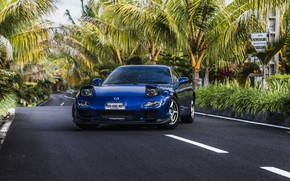 Picture road, mazda, blue, palms, rx-7
