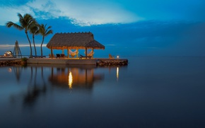 Picture sea, the sky, reflection, palm trees, hammock, gazebo, sunbeds