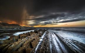 Wallpaper nature, sunset, rocks, sea