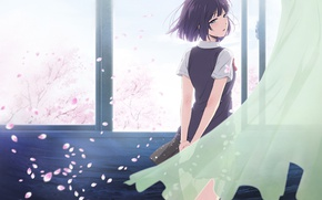 Picture girl, petals, Sakura, class, tears, anime, art, crying, Kuzu no Honkai, Secret desires rejected, Ranking …