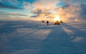 Picture ice, sky, landscape, nature, clouds, snow, sun, man, shadows, cold, Arctic, tents, pole