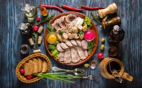 Wallpaper meat, spices, vegetables, sauce, oil, bread, olives