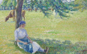 Picture landscape, nature, tree, picture, cows, meadow, Camille Pissarro, Cowgirl. Eragny
